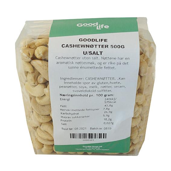 Goodlife cashewnøtter u/salt 500 gr