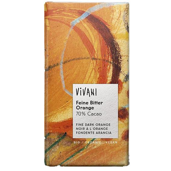 Vivani sjokolade m/appelsin 70 % kakao 100 gr
