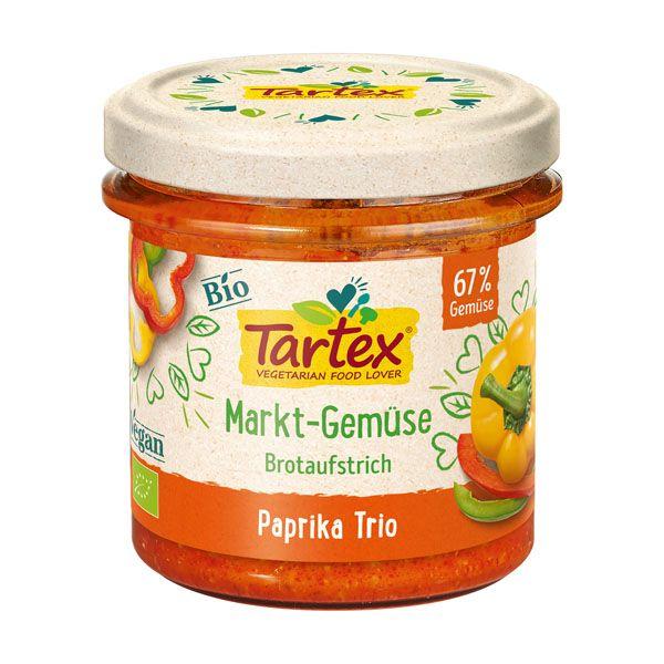 Tartex vegetable spread paprika trio 135 gr øko
