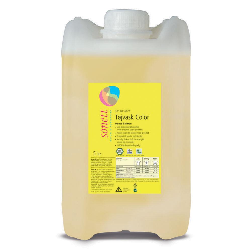 Sonett vaskemiddel tøy flytende mynte & sitron refill 5 l øko