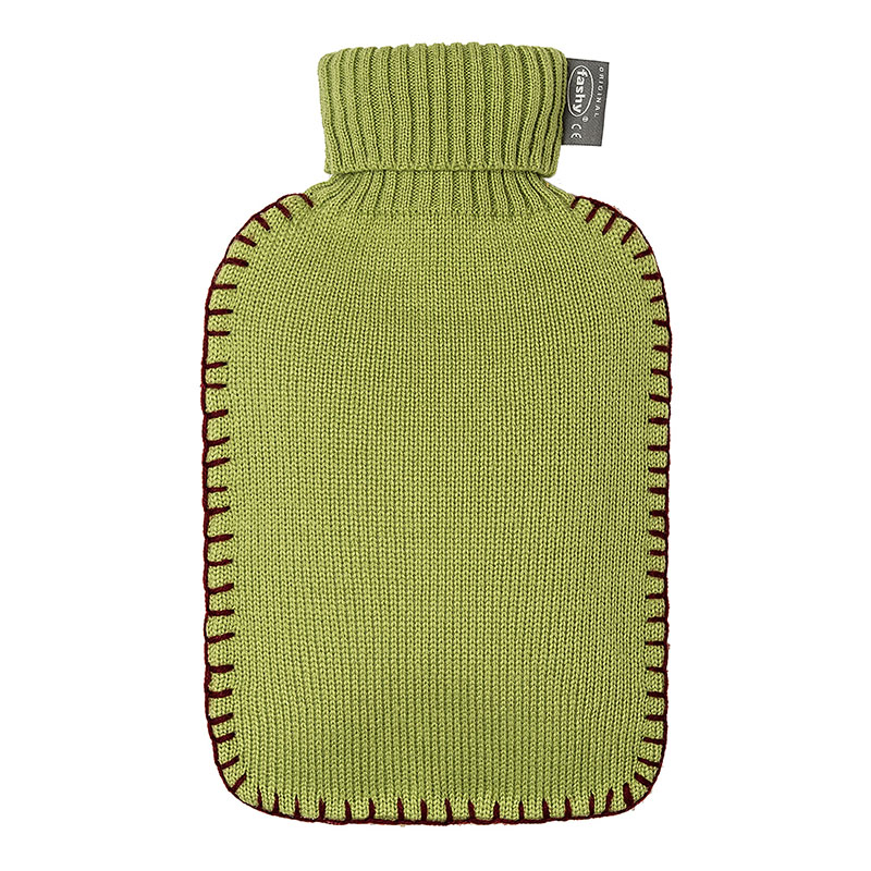 Fashy varmeflaske med grønt strikket trekk 2 l