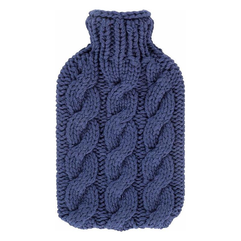 Fashy varmeflaske med håndstrikket trekk blå 2 l