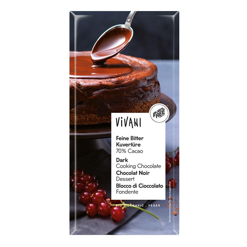 Vivani mørk kokesjokolade 70% coverture 200 gr øko