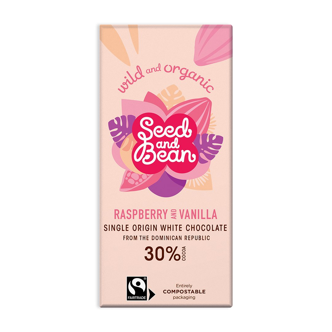 Seed and bean white chocolate rapsberry vanilla 85 gr