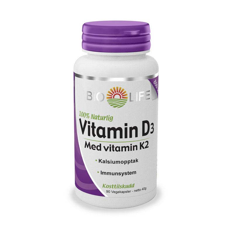 Bio Life vitamin D3 med vitamin K2 90 kap