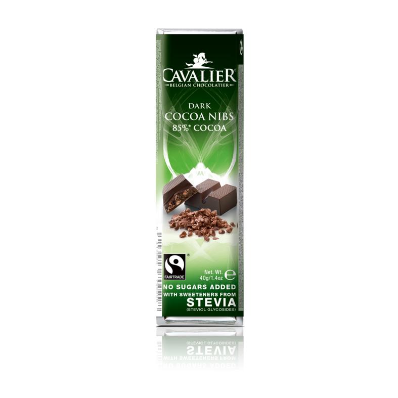 Cavalier 203 stevia dark chocolate cocoa nibs 40 gr
