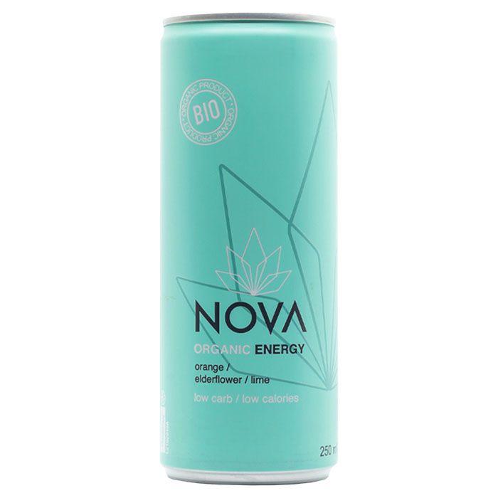 Nova energidrikk appelsin hylleblomst lime 250 ml øko