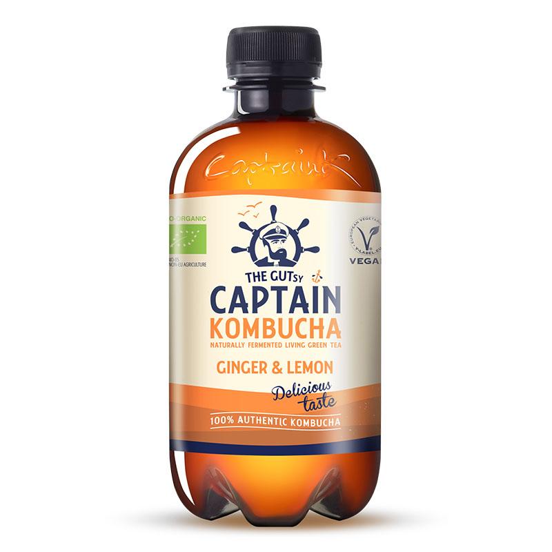 Captain Kombucha ginger lemon vegan 400 ml øko