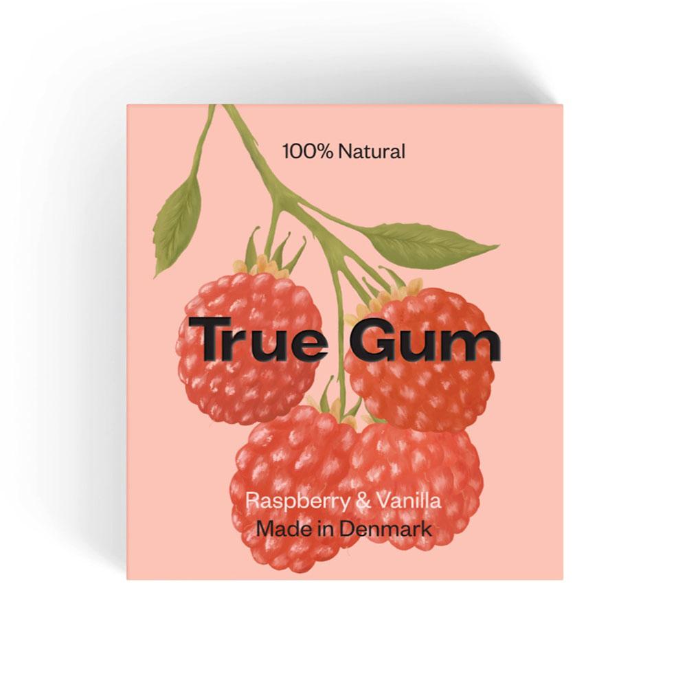 True Gum bringebær & vanilje tyggegummi 21 gr