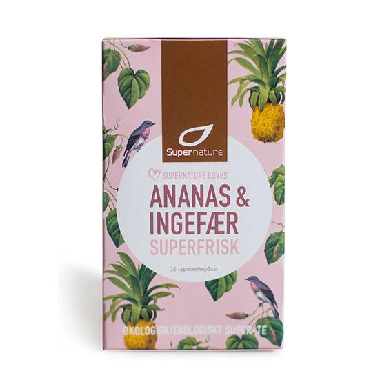 Supernature ananas og ingefær te 16 poser øko