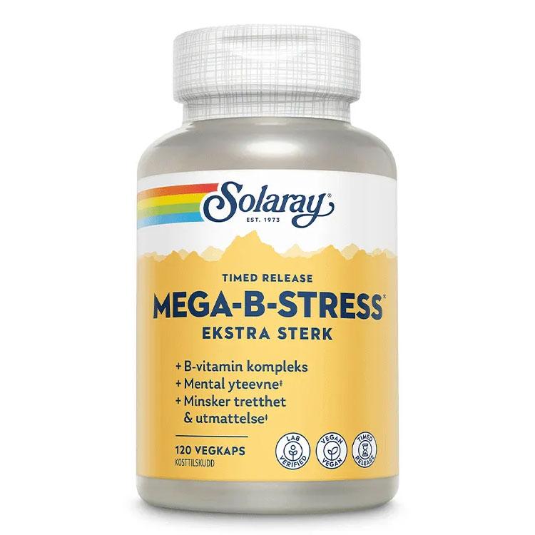 Solaray mega b-stress b-kompleks ekstra sterk 120 kap