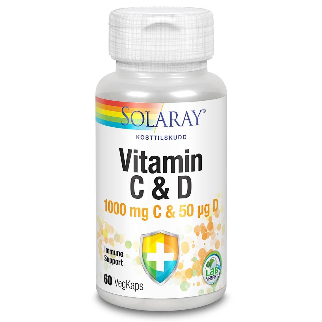 Solaray vitamin C & D 60 kap