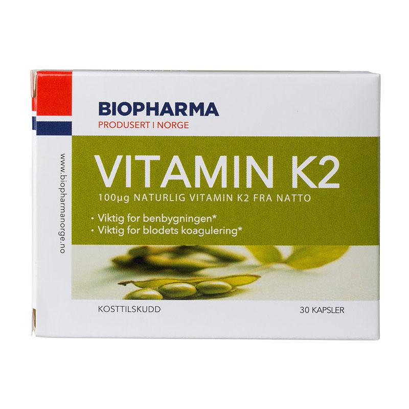 Biopharma vitamin K2 med vitamin D 30 kap