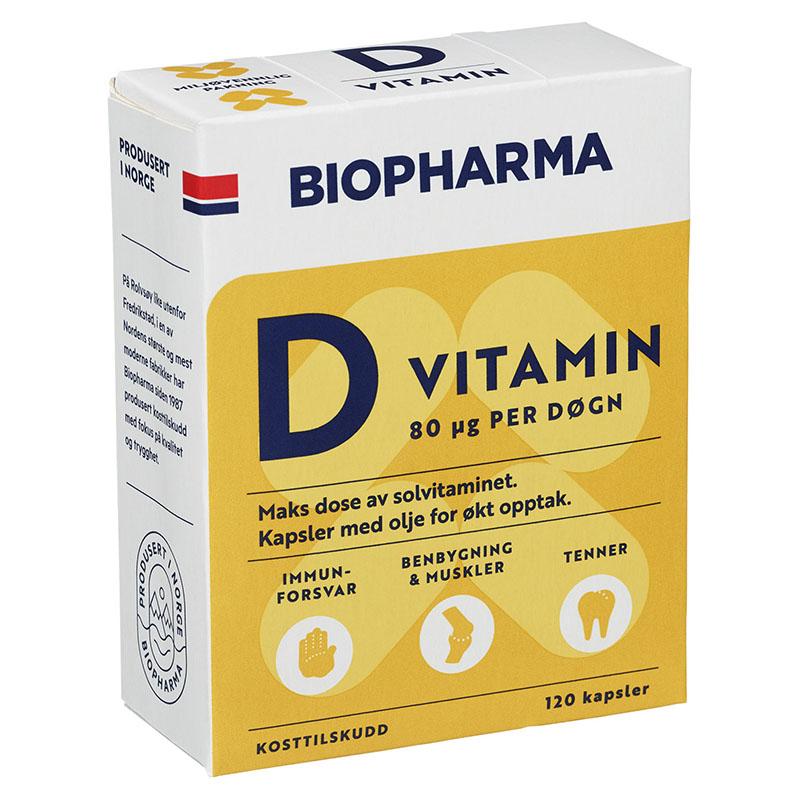 Biopharma vitamin d 40µg 120 kap