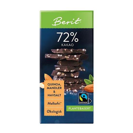 Berit Nordstrand mørk sjokolade 72% mandler/quinoa 80 gr