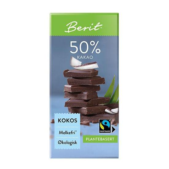 Berit Nordstrand sjokolade 50% kokos 80 gr