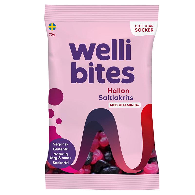 Wellibites bringebær og salt lakris 70 gr