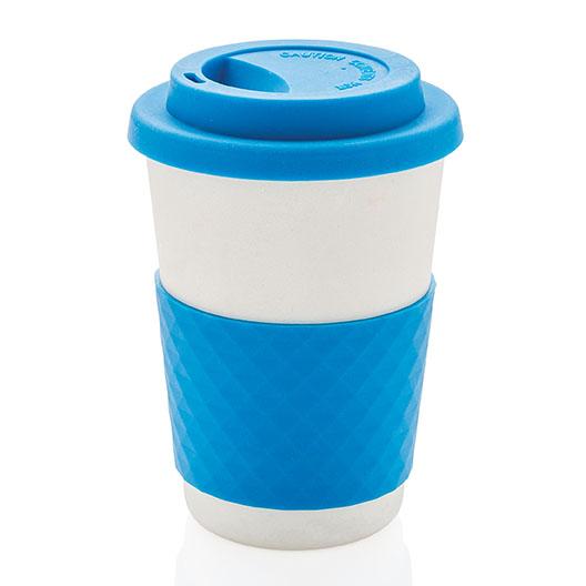 Kaffekopp med lokk bambus blå 270 ml