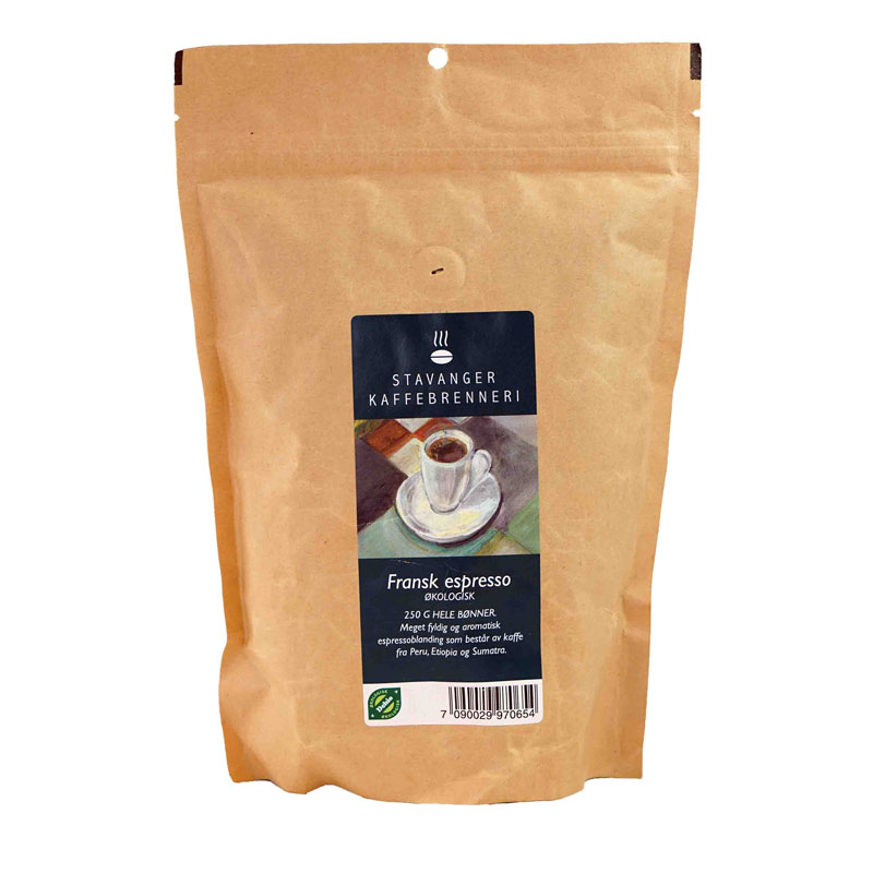 Kaffe espresso fransk brent 250 gr øko