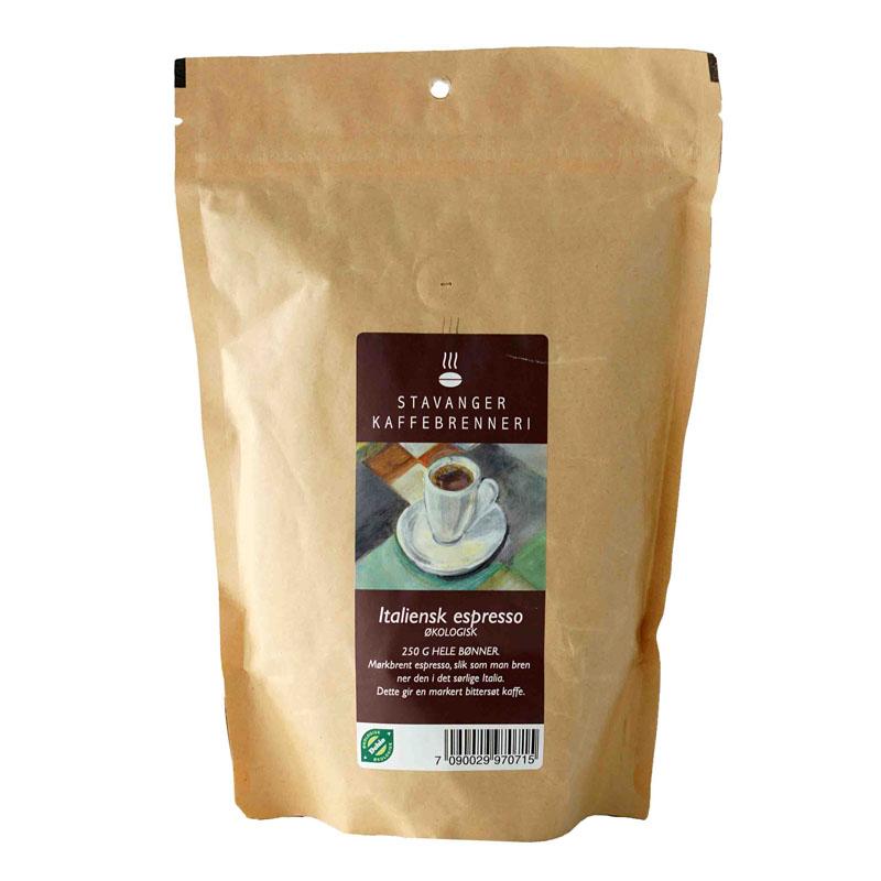 Kaffe espresso italiensk brent 250 gr øko