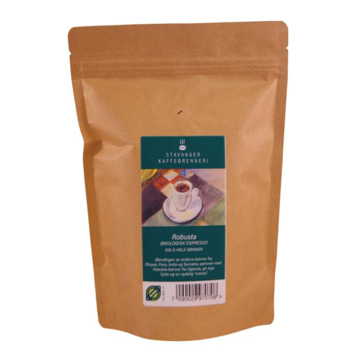 Kaffe espresso robusta bønner 250 gr øko